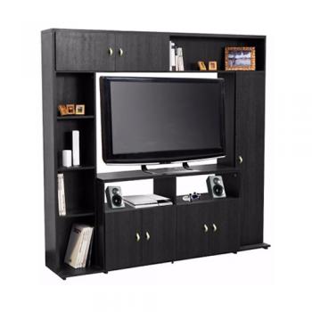 MODULAR LCD PLATINUM 557 ESPACIO TV MELAMINA NEGRO