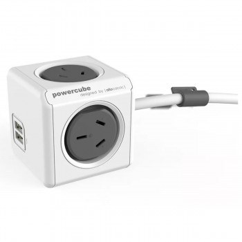 Prolongador Zapatilla Alpaca Power Cube Gris 4 Tomas 2 Usb