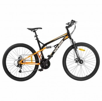 Bicicleta Mountain Bike Wings Gm18 Negro Amarilla Rodado 26