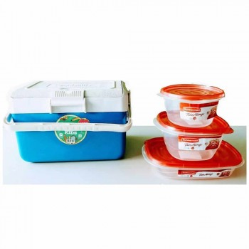 Combo Escolar Lunchera Garden Life Azul 3 Tuppers Rubbermaid