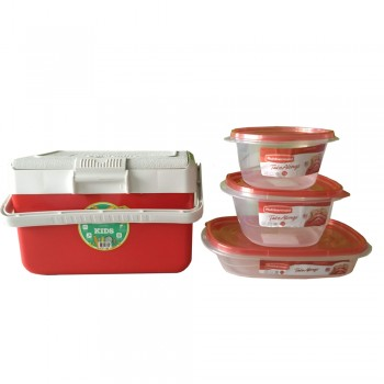 Combo Escolar Lunchera Garden Life Rojo 3 Tuppers Rubbermaid